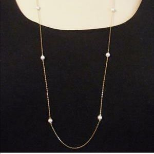 Nadri Long Faux Pearl Gold Station Necklace